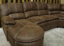 Microfiber Sofas And Sectionals by Brown Microfiber Reclining Sectional W Baseball Stitching