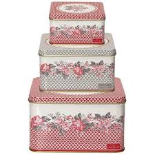 GreenGate Square Boxes Shirley Red Set Of 3