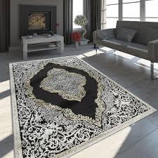 teppich wohnzimmer kurzflor vintage ornamente orient muster schwarz creme gold grösse 80x300 cm