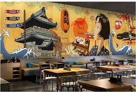 3d Mural Background Japanese Ukiyo Shi Pilgrims Retro Nostalgic Restaurant Seamless Cooking Sushi Footwear Club Wallpapers In From Home