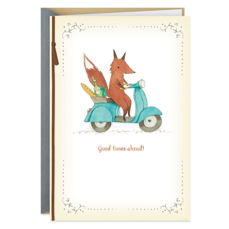 Fox on Scooter Good Times Ahead Retirement Card