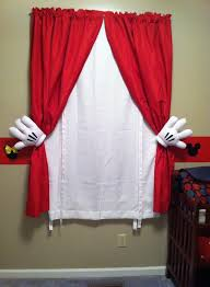mickey mouse curtains simply use plain red and white curtains and