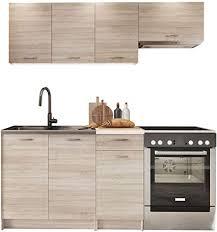 küche mela 180 120 cm küchenblock küchenzeile 5 schrank module kombinierbar sonoma eiche beige