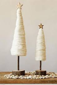 Tall Cream Wool Christmas Tree