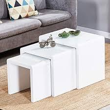 satztisch 3 weiße hochglanz couchtischnester stapelbares design mdf holz beistelltisch wohnzimmermöbel set weiß