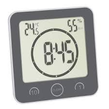 digitale funk badezimmeruhr mit temperaturanzeige tfa dostmann