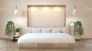 mockup schlafzimmer japanischen stil mit bett lowtable schrank und wandregal design lights3d rendering stockfoto und mehr bilder behaglich