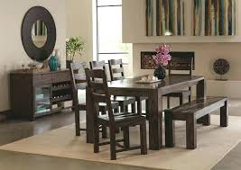Enchanting Rustic Dining Room Set Table With Bench Chair Cushions