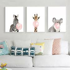 Animal Koala Giraffe Zebra Canvas Poster Nursery Wall Art Print Baby