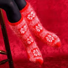 supertanya hand knitted mohair socks fuzzy norwegian red nordic