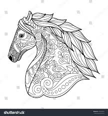 Stylized Head Horse Coloring Book Adults Stock Vector 557920426