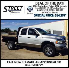 Check Out Our Deal Of The Day Today! It's A 2004 Dodge Ram Pickup ... Used Car Dealership Mansfield Tx North Texas Truck Stop Dealer Hutto Preowned Vehicles Near Round Rock Hshot Trucking Pros Cons Of The Smalltruck Niche Ordrive Deals Diesel Pickups Corsicana 2017 Chevrolet Silverado 1500 Pricing For Sale Edmunds New And Preowned Boston Gregg Orr Extreme Wwwdieseldealscom 1997 Ford F350 Crew 134k Show Trucks Usa 4x4 Cars Fair Auto Sales Galveston Monster Trucks In Hereford Movie Tickets Theaters Showtimes
