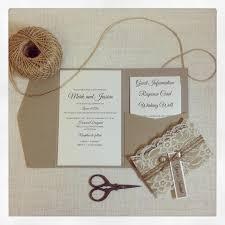 Wedding Invitation Rustic Lace Pocketfold Sample