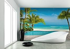 Pool on the beach wall mural for home walls