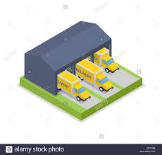 Delivery Trucks In Warehouse Hanger Isometric Icon Stock Vector Art ...