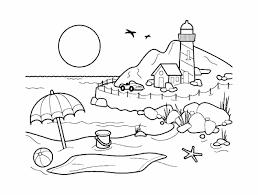 Simple Plage Coloriage Sur Les Vacances à La Mer Coloriages Pour
