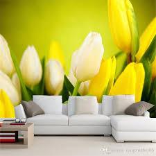 großhandel 3d wallpaper schöne blumen gelbe tulpen fototapeten wohnzimmer esszimmer moderne einfache dekor wandmalerei papel wandbild