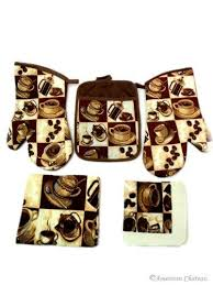 NEW Coffee Kitchen 5 PC Linen TOWEL Set Towels Oven Mitt And Pot Holder CAFE DecorBistro