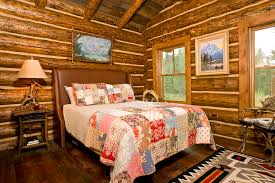 Log Home Interior Decorating Ideas Bright Quilted Headboard In Bedroom Rustic With Log Cabin