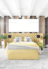 minimale schlafzimmer innenarchitektur holz wand gelbe sofa und exemplar in einem leeren rahmen 3drendering 3d illustration stockfoto und mehr bilder