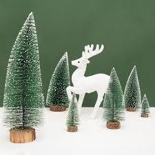 Mini Snow Pine Needle Trees Bauble Navidad Tree Ornaments Wooden
