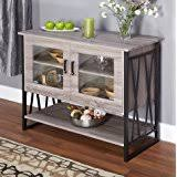 Seneca Glass Metal Wood Laminate Small Dining Room Buffet Cabinet Storage