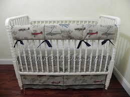 Baby Boy Bedding Set Evan Airplane Crib Bedding Bumperless