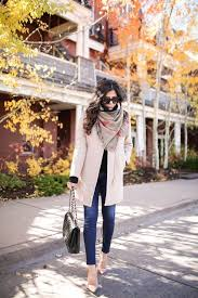 Fall Outfits 2017 Auntum Clothing Pink Coat Black Bags Women Dark Blue Jeans Nude Heels Long