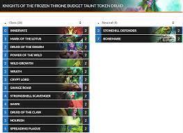 hearthstone knights of the frozen throne budget decks roffle net