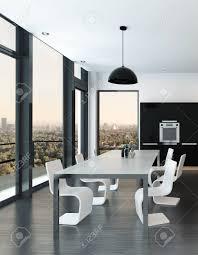 stilvolle moderne geformte essbereich in einem luxus schwarz weiß wohnzimmer wohnzimmer interieur mit panorama glas fenster mit blick auf die stadt