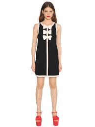Boutique Moschino Bow Application Wool Knit Dress Black White Women Clothing Latest Fashion Trendsoutlet For Sale