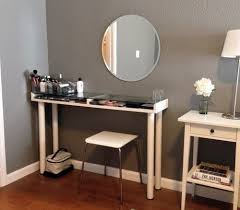 plain brown wall paint idea paired with white bedroom vanity set