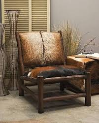 Imax Exclusive Pacino Animal Hide Teakwood Accent Chair Rustic Decor 51380