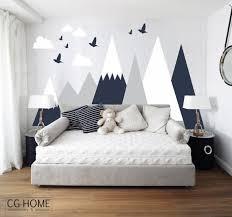jeux de décoration de chambre de bébé mountains wall decal woodland wall covering clouds birds baby
