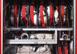 100 Inside A Fire Truck Of Hoses Prepared For Usage Stock Photo