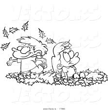 Vector of a Cartoon Black and White Outline Design of Kids Playing in Leaves Outlined