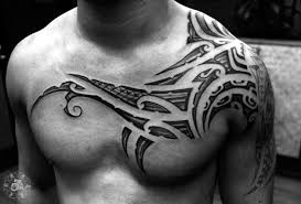 Tribal Tattoo Chest Shoulder
