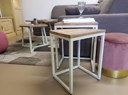 voglrieder couchtisch set 2 stück wohnzimmer tisch satztisch dallas metall gestell schwarz oder weiß