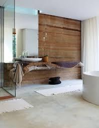 moderne badezimmer im vintage style mit beton wand braun und