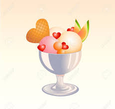 illustration of funny Ice Cream Sundae with fruits and heat shape biscuit Stock Illustration