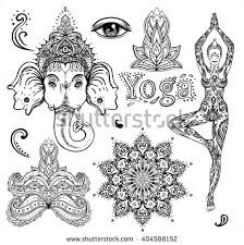 Set Of Ornamental Boho Chic Style Elements Vector Illustration Tattoo Template Trendy Hand
