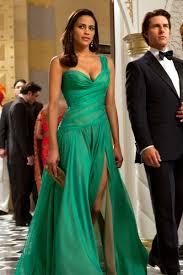 paula patton green one shoulder evening dress movie mission