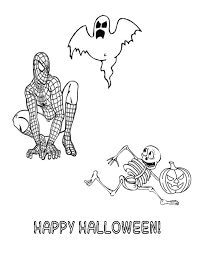 Spiderman And Halloween Ghoul Skeleton Coloring Page