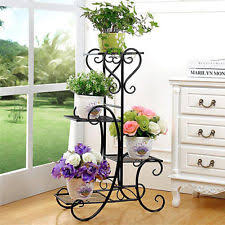 Freestanding Rustic Style Decorative 4 Tier Metal Planter Stand Flower Pot Rack