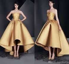 high low gold elegant evening dresses strapless sleeveless prom