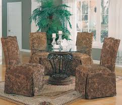 Slipcover Chairs Dining Room by Furniture Home Deluxe Fabric Brown Gold Motif Floral With