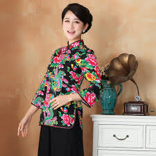 folk peony floral red traditional chinese wedding clothes