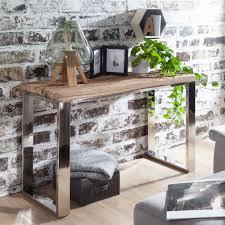 konsolentisch 115x76x46 cm massiv holz natur konsole rustikal wohnzimmer anrichte flur diele schmal schminktisch industrial style