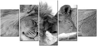decomonkey bilder löwe afrika 100x50 cm 5 tlg leinwandbilder
