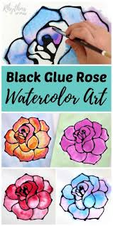 Black Glue Rose Watercolor Resist Art Project A Fun And Easy Spring Summer Flower Painting Idea For Kids Teens Adults The Tutorial Incl